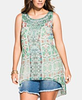 8b7a0ee568450e City Chic Trendy Plus Size Bucharest Printed High-Low Top