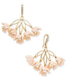 I.N.C. Gold-Tone Imitation Pearl & Resin Flower Drop Earrings, Created for Macy's
