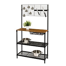 """Honey Can Do 65"""" Bakers Rack with Cutting Board & Hanging Storage"""