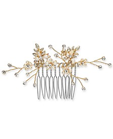 INC Gold-Tone Crystal & Imitation Pearl Small Hair Comb, Created for Macy's
