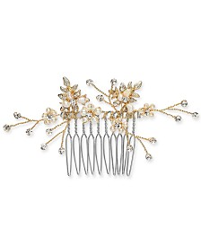 I.N.C. Gold-Tone Crystal & Imitation Pearl Small Hair Comb, Created for Macy's