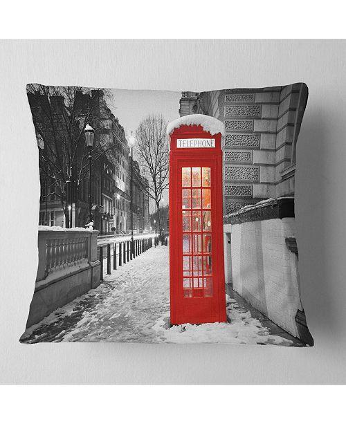 Excellent Designart Red London Telephone Booth Cityscape Throw Pillow 26 X 26 Inzonedesignstudio Interior Chair Design Inzonedesignstudiocom