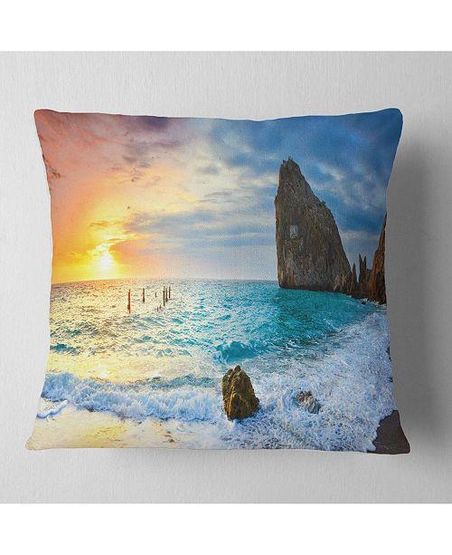 "Design Art Designart 'Vibrant Morning Sea With Yellow Sun' Seascape Throw Pillow - 16"" x 16"""