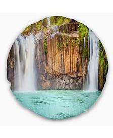 "Designart 'Dry Sap Waterfall' Photography Throw Pillow - 16"" Round"