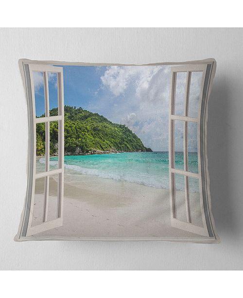 "Design Art Designart 'Open Window To Calm Seashore' Seashore Throw Pillow - 16"" x 16"""