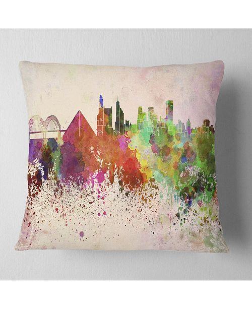 """Design Art Designart 'Memphis Skyline' Cityscape Throw Pillow - 16"""" x 16"""""""
