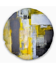"Designart 'Grey and Yellow Blur Abstract' Abstract Throw Pillow - 20"" Round"