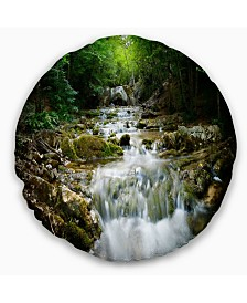 """Designart 'Natural Spring Waterfall' Landscape Photography Throw Pillow - 20"""" Round"""