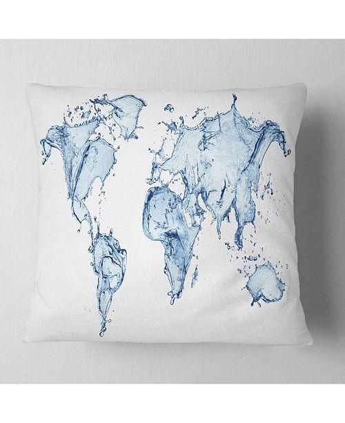 """Design Art Designart 'World Map Water Splash' Abstract Map Throw Pillow - 16"""" x 16"""""""
