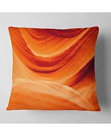 "Designart 'Antelope Canyon Orange Wall' Landscape Photography Throw Pillow - 16"" x 16"""