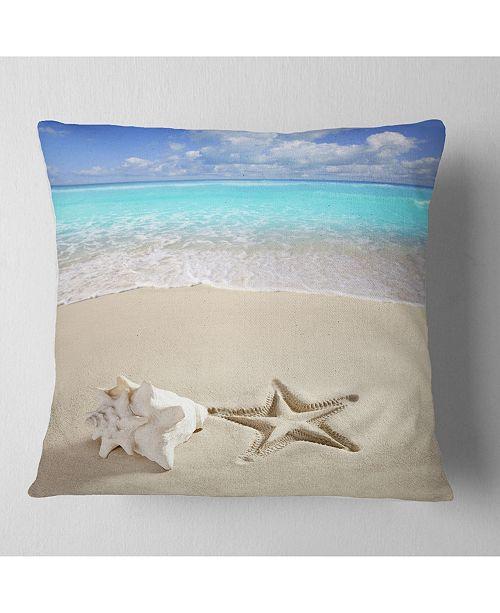 "Design Art Designart 'Caribbean Beach Starfish' Beach Photography Throw Pillow - 16"" x 16"""