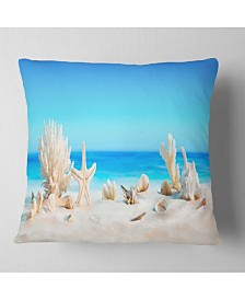 "Designart 'Seashells On Tropical Beach' Seashore Photo Throw Pillow - 16"" x 16"""