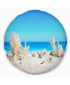 "Designart 'Seashells On Tropical Beach' Seashore Photo Throw Pillow - 20"" Round"