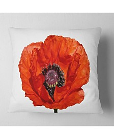 "Designart 'Red Poppy Blossom Close Up' Floral Throw Pillow - 16"" x 16"""
