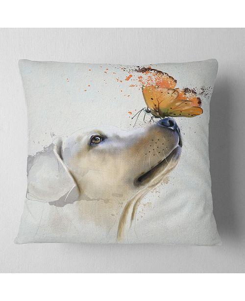 """Design Art Designart 'Golden Retriever Dog With Butterfly' Animal Throw Pillow - 16"""" x 16"""""""