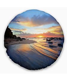 """Designart 'Exotic Seashore Sunrise Australia' Seascape Throw Pillow - 16"""" Round"""