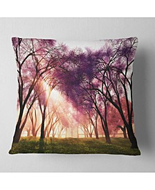 "Designart 'Cherry Blossoms Japan Garden' Landscape Printed Throw Pillow - 26"" x 26"""