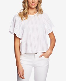 CeCe Cotton Striped Flutter-Sleeve Top