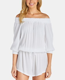 Raisins Juniors' Off-The-Shoulder Romper Cover-Up