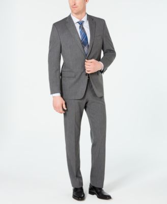 Men's Classic-Fit Stretch Wrinkle-Resistant Gray Sharkskin Suit Jacket