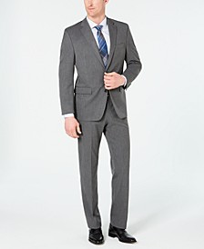 Men's Classic-Fit Stretch Wrinkle-Resistant Gray Sharkskin Suit Separates