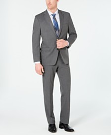 Chaps Men's Classic-Fit Stretch Wrinkle-Resistant Gray Sharkskin Suit Separates