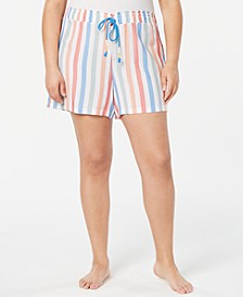 Plus Size Light Weight Printed Pajama Shorts, Created for Macy's