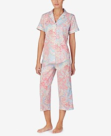 Lauren Ralph Lauren Notch Collar Top and Capri Pants Printed Pajama Set