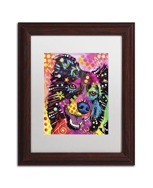 "Trademark Global Dean Russo 'Border Collie 121109' Matted Framed Art - 14"" x 11"" x 0.5"""
