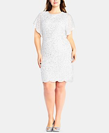Plus Size Beaded Flutter-Sleeve Dress