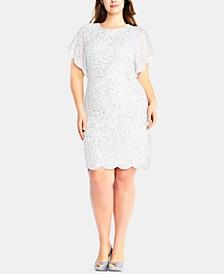 Plus Size Beaded Flutter-Sleeve Dress