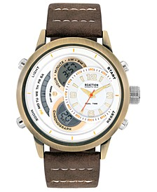 Men's Analog-Digital Brown Faux Leather Strap Watch 48mm
