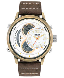 Kenneth Cole Reaction Men's Analog-Digital Brown Faux Leather Strap Watch 48mm