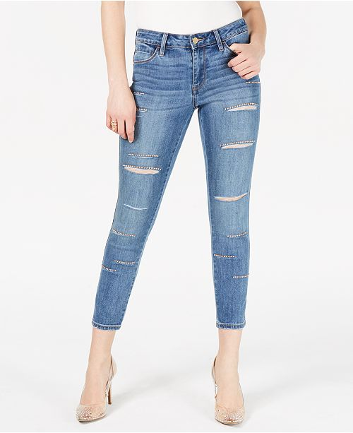 best loved new & pre-owned designer fantastic savings GUESS Sexy Curve Ripped Embellished Skinny Jeans ...