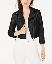 c9ff0a0b71949 GUESS 3 4-Sleeve Faux Leather Moto Jacket