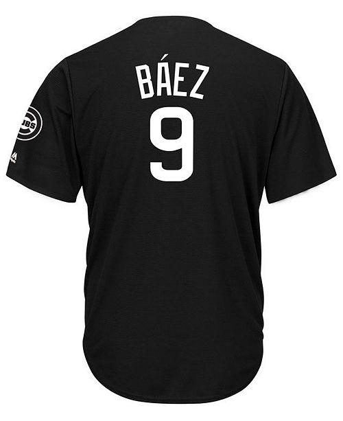 413e13d75 ... Majestic Men s Javier Baez Chicago Cubs Black Tux Replica Cool Base  Jersey ...