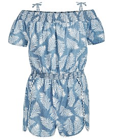 Epic Threads Big Girls Palm-Print Romper, Created for Macy's