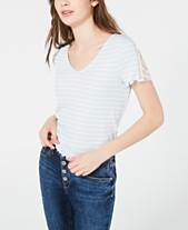 826e8100e6f American Rag Juniors' Striped Embellished T-Shirt, Created for Macy's