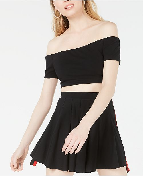 Waisted Contrast Off-The-Shoulder Crop Top