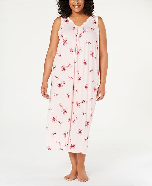 Charter Club Plus Size Knit Lace-Trim Nightgown, Created for Macy's
