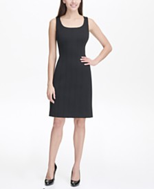 Tommy Hilfiger Solid Scuba Sheath Dress