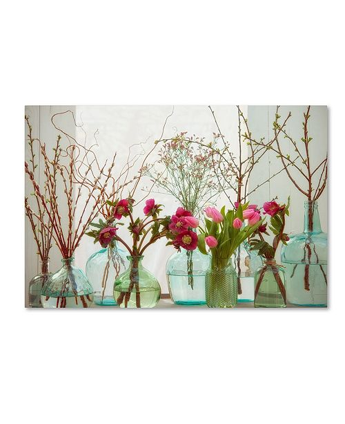 "Trademark Global Cora Niele 'Spring Flowers In Glass Bottles Vii' Canvas Art - 19"" x 12"" x 2"""