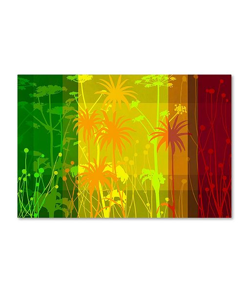 "Trademark Global Cora Niele 'Flower Shades Green Yellow Red' Canvas Art - 19"" x 12"" x 2"""