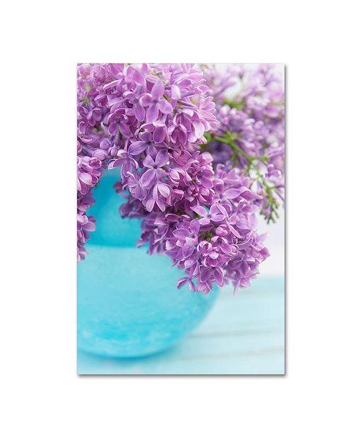 "Trademark Global Cora Niele 'Lilacs In Blue Vase Iv' Canvas Art - 24"" x 16"" x 2"""