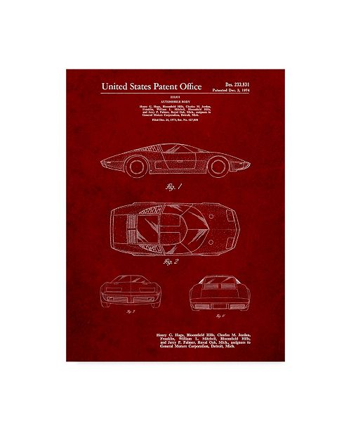 "Trademark Innovations Cole Borders 'Car 5' Canvas Art - 24"" x 18"" x 2"""