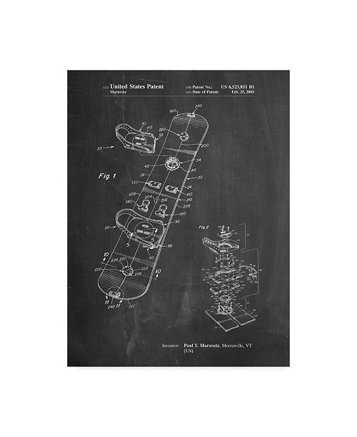 "Trademark Innovations Cole Borders 'Burton Touring Snowboard' Canvas Art - 32"" x 24"" x 2"""