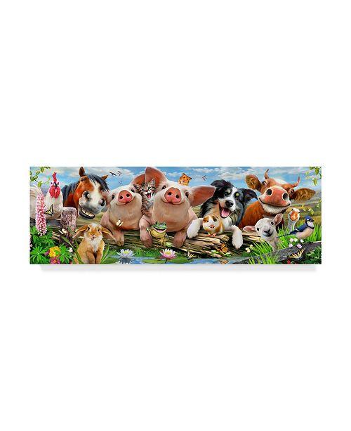 "Trademark Global Howard Robinson 'Happy Farm Animals' Canvas Art - 19"" x 6"" x 2"""