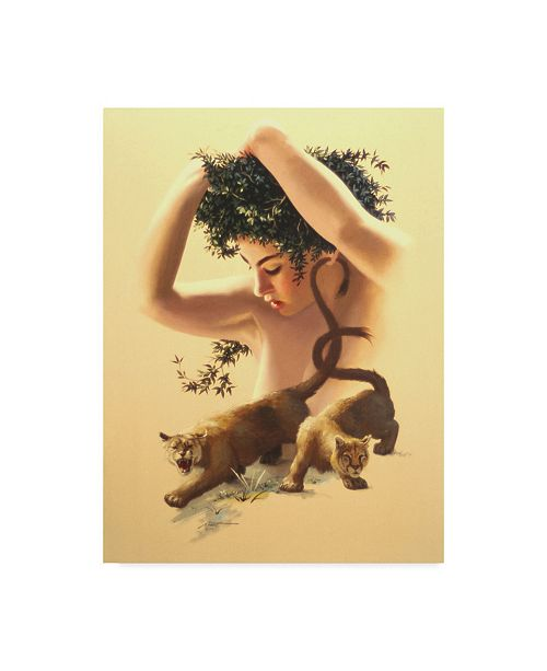 "Trademark Global D. Rusty Rust 'Girl, Two Cougars' Canvas Art - 24"" x 18"" x 2"""