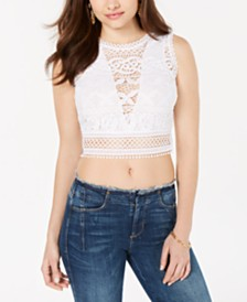 GUESS Tiffany Lace Crop Top
