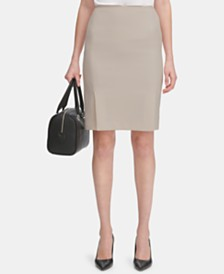 Calvin Klein Petite Twill Side-Pleated Skirt